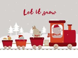 vector of final winter with bear deer penguin and squirrel ride on train