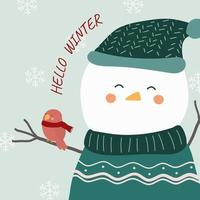 vector of final winter with snowman and a bird perched on its arms
