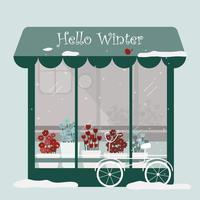 vector of final winter with flower shop and bicycle in front