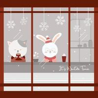 vector of final winter with cat and rabbit sitting drinking coffee in the cafe