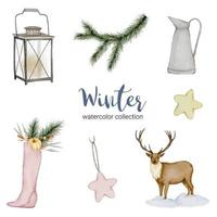 Winter watercolor collection featuring jugs, lanterns, deer and shoes. vector