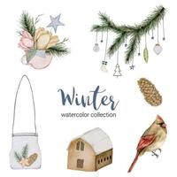 Winter watercolor collection featuring a bouquet of flowers, twigs, dried pine cones, houses and birds. vector