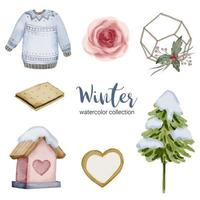 winter watercolor collection with items for home use vector