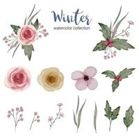 Winter watercolor collection with branches, leaves and flowers vector