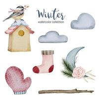 winter watercolor collection with items for home use. vector