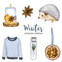 colección de acuarela de invierno con mangas largas, frascos, velas y erizos. vector