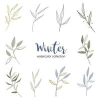 winter watercolor collection with various types of leaves vector