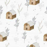 seamless pattern with winter watercolor home and leaves vector