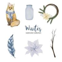 winter watercolor collection with items for home use and fox vector