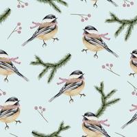 patrón sin fisuras con pájaros y ramas de acuarela de invierno vector