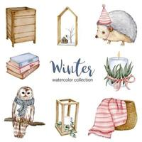 colección de acuarela de invierno con libros, erizos, búhos, cestas y velas vector