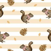 Seamless pattern with squirrel and dried pine cones, winter watercolor vector