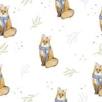 patrón sin fisuras con fox y hojas de acuarela de invierno vector