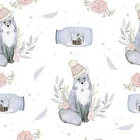 Seamless pattern with fox Flowers and houses decorated in bottles watercolor winter vector