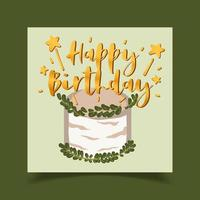 Happy birthday card decorated with cake pictures vector