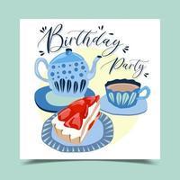 Happy birthday decorated with cake, mug and coffee mug. vector