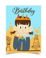 A birthday card decorated with a crowned girl wearing a blue blouse. vector