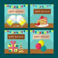 juego de tarjetas de feliz cumpleaños, decoraciones para pasteles, cajas de regalo, copas de vino y globos vector