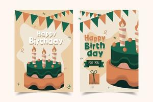 happy birthday card decorated vector