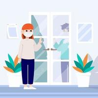 A woman with a mask talking to a man between the door. vector