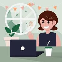 social distancing Work from home vector