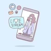 A young lady conducts a live broadcast via a smartphone. vector