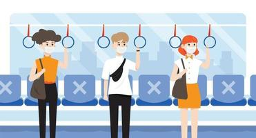 social distancing on the train vector