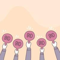 Bidding or auction auctions involving to a purchase of an item vector