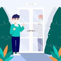 A man with a mask talking to a woman is between the door. vector
