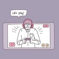 A man who plays games on a smartphone vector