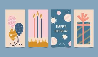Happy birthday card set decorated with candles, cakes, gift boxes and balloons vector