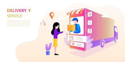 Staff deliver online to customers who order. vector