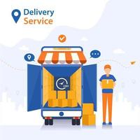 Staff deliver goods by car to customers who order. vector