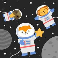 Vector animal character wearing a space suit with stars