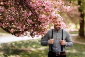 Bearded man with stylish haircut with sakura flowers on background. Hipster in in suspenders near with branch of sakura flowers in teeth. Harmony with nature concept. photo