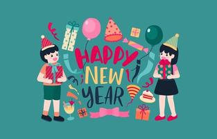 Happy New Year party Poster or banner with  gift box icons vector