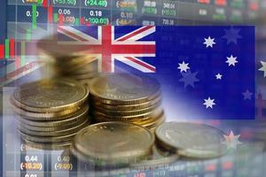Stock market investment trading financial, coin and Australia flag or Forex for analyze profit finance business trend data background. photo