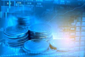 Stock market investment trading financial, coin and graph chart or Forex for analyze profit finance business trend data background. photo