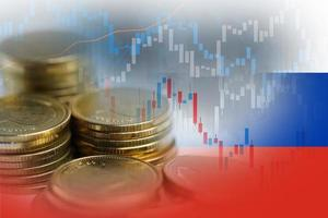 Stock market investment trading financial, coin and Russia flag or Forex for analyze profit finance business trend data background. photo