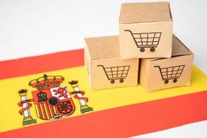 Box with shopping cart logo and Spain flag, Import Export Shopping online or eCommerce finance delivery service store product shipping, trade, supplier concept. photo
