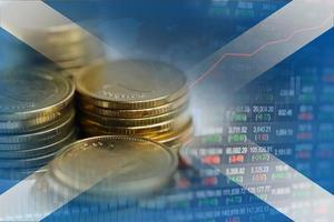 Stock market investment trading financial, coin and Scotland flag or Forex for analyze profit finance business trend data background. photo