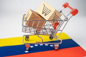 Box with shopping cart logo and Venezuela flag, Import Export Shopping online or eCommerce finance delivery service store product shipping, trade, supplier concept. photo