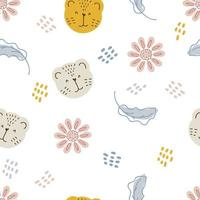Seamless pattern of tiger muzzles and flowers in pastel color vector