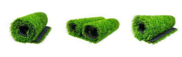 set artificial turf roll of green grass isolated on white background illustration photo