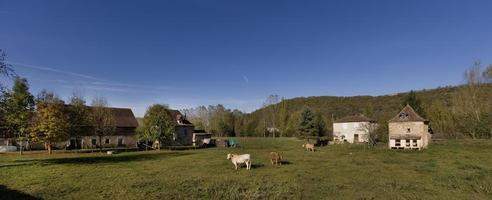 Panoramic view of a cattle farm in the Lot, France photo