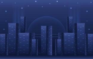 Gradient Blue Cityscape Background Composition vector