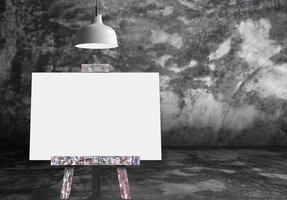 Wooden easel with blank painting canvas in the raw concrete room photo