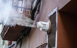 Industrial chimney smoke outlet photo