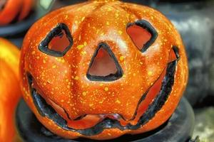 calabazas decoración de halloween foto
