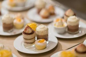 Catering food, dessert and sweet, mini canapes, snacks and appetizers, food for the event, sweetmeat photo